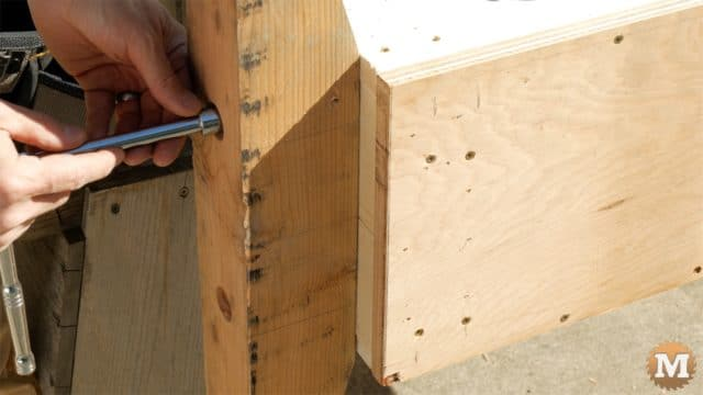 MAN about TOOLS - firewood cutting jig - secure front support with carriage bolts