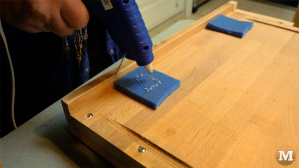 DIY One Handed Cutting Board - hot melt foam pieces to underside