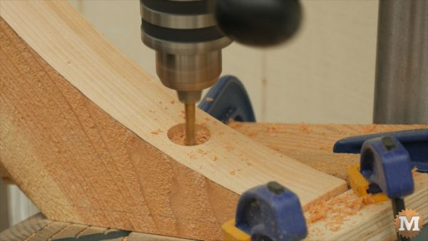 drilling bolt holes in braces on the drill press