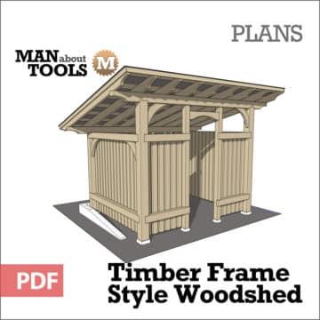 Timber Frame Woodshed woo - digital pdf plan