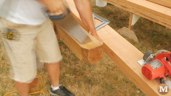 Cut main roof beams to length