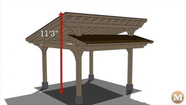 "Timber Frame Pavilion - Peak height of 11\'3\"""