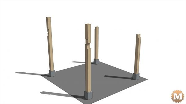 Four 6x6 red cedar posts on galvanized saddles