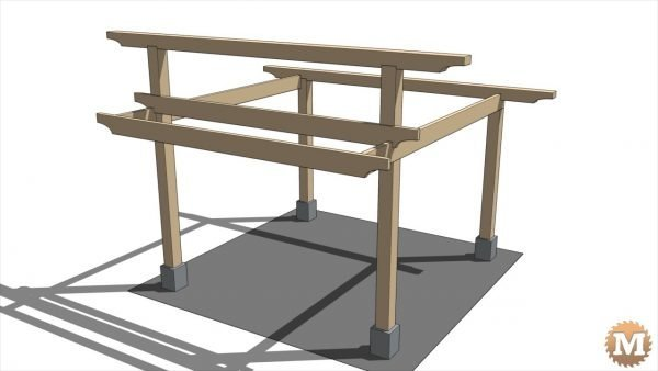 Top beams are 6x6 and front roof beams are 2x8