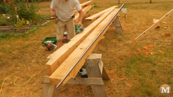 Beams are chamfered with power plane. The bow in these beams can be seen.