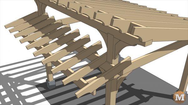 Build Detail - Main rafters have 2x6 fir support blocks between each