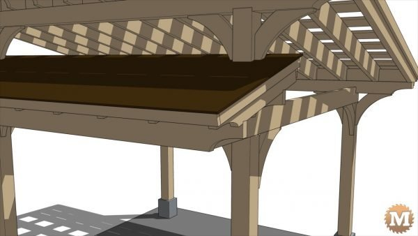 Close View- Front roof section cantilevers off side girts