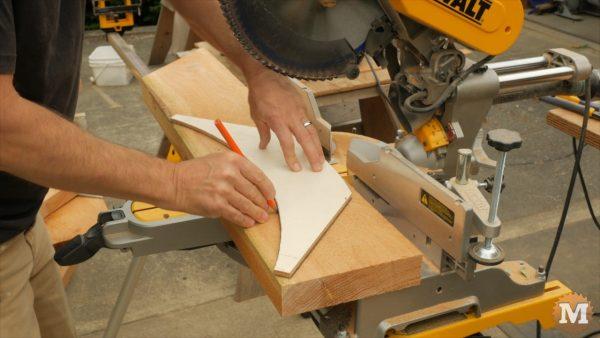 Timber Frame Gazebo - Trace corner brace plywood pattern onto 2x8 red cedar