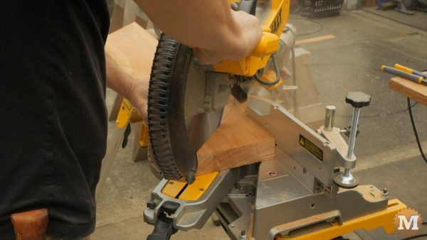 Cut angles on the miter saw - Timber Frame Gazebo