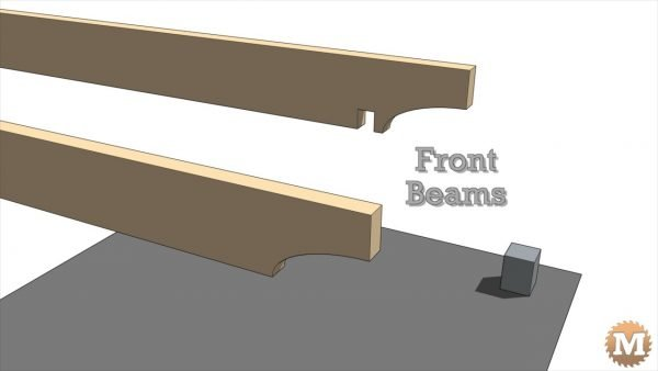 Front roof beams - Pavilion Construction