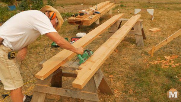 Dressing 2x8 beams with plane - Timber Frame Gazebo