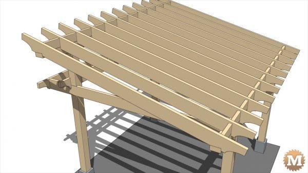 Timber Frame Gazebo - Twelve 2x8 full dimension fir roof rafters make up the main roof