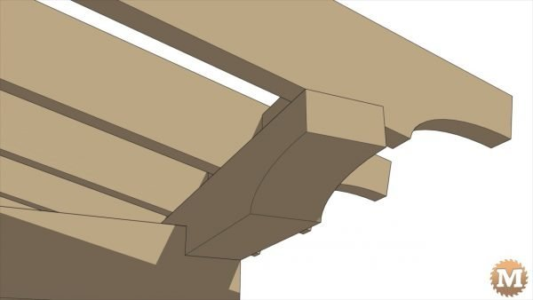 Detail of how the rafters sit on the rear beam - Timber Frame Gazebo