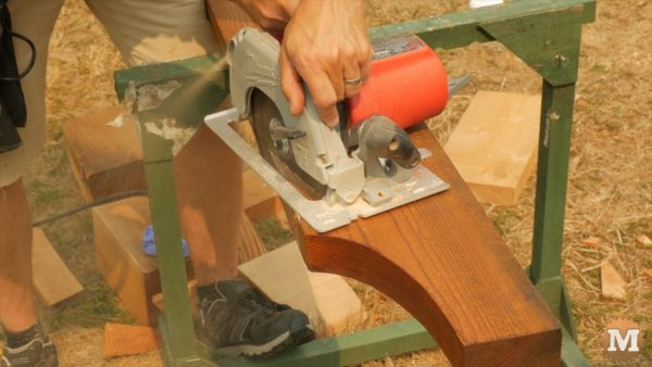Circular saw roughs out the seat and plumb cut first