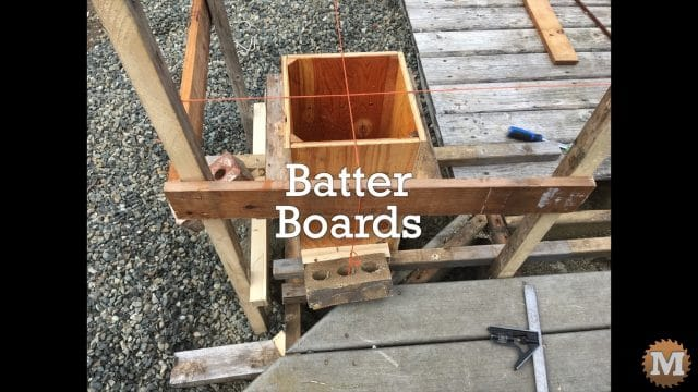 batter boards used to position the concrete forms
