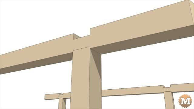 Animation of a Three Gable Timber Frame style Pavilion Gazebo Pergola