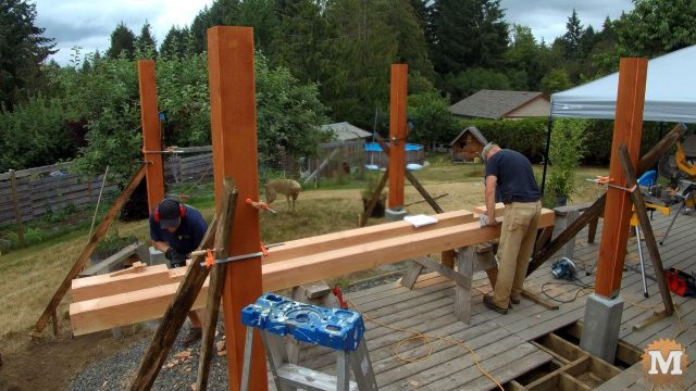 cutting beams on saw horses