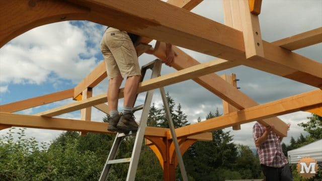 lifting a ridge beam in place