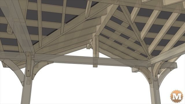 Animation of a Three Gable Timber Frame style Pavilion Gazebo Pergola