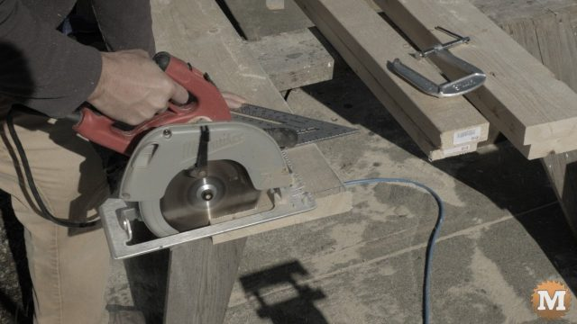 circular saw and large speed square for cutting lumber to length