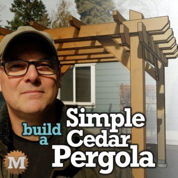Cedar pergola in a backyard or patio