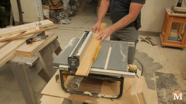 Following the garden box plans and ripping the angled inset on a table saw