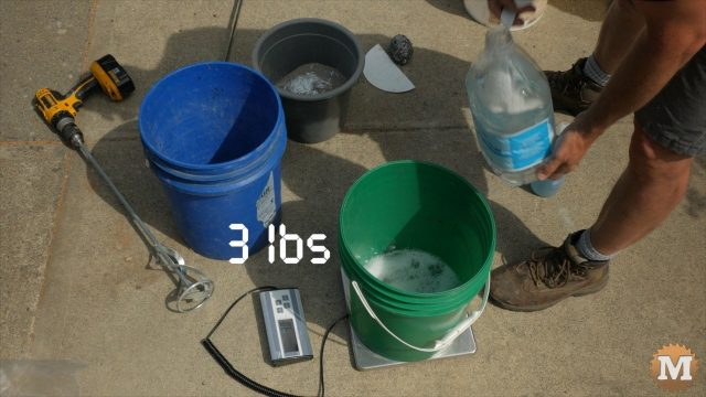 Weighing foaming agent dilution into pail