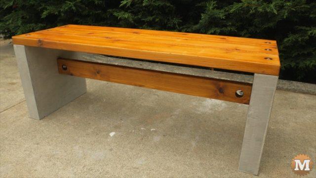 the final concrete garden bench