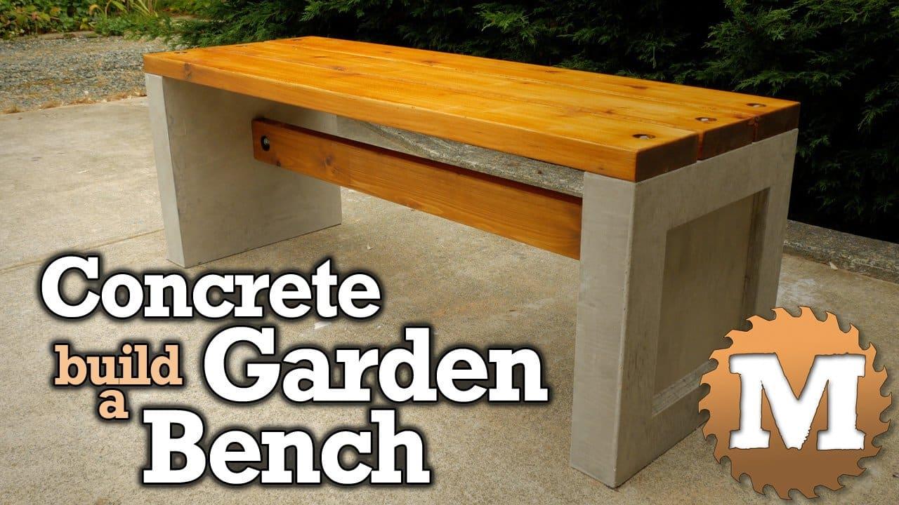 YouTube Thumbnail Build a Concrete Garden Bench - MAN about TOOLS