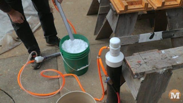 using Darwin\'s foam mate to create a dense rich foam for the concrete mix