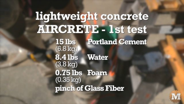 another aircrete concrete lightweight test recipe