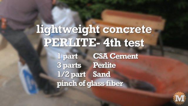 Lightweight Perlite Concrete blend formulation