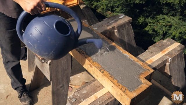 water curing the CSA concrete perlite mix