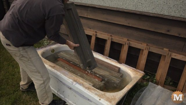 panels curing for several weeks submerged in water bath