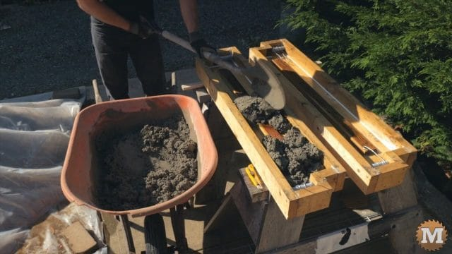 filling the forms with wet concrete