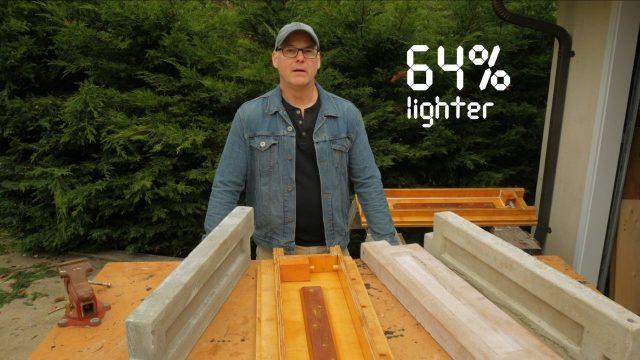 64 percent lighter than regular portland-based sand and gravel concrete