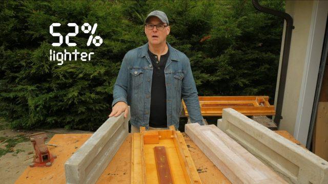 52 percent lighter than regular portland-based sand and gravel concrete