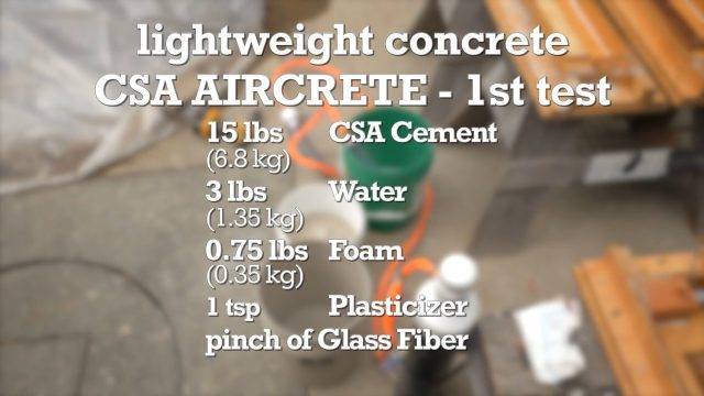 aircrete formula and ingredient blend for this test batch