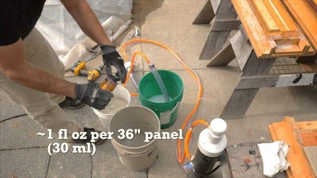 adding concrete colour dye tint to the wet concrete