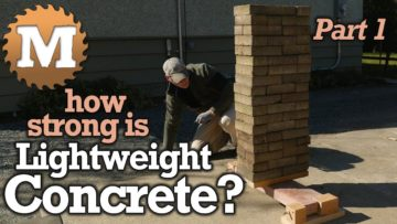 YouTube Thumbnail asking How Strong is Lightweight Concrete? - MAN about TOOLS