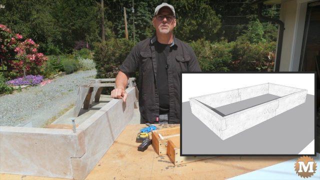 Concrete Garden Box Simple Form - graphic of assembled garden box