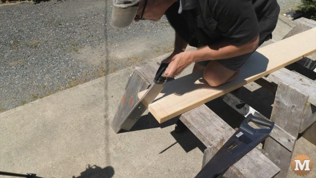 Cutting the base lumber for the concrete form