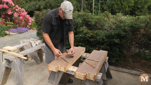 DIY Concrete Garden Box Easy Form - remove wooden pegs