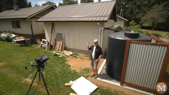 Install a Rainwater Harvesting Collection Tank - The workshop and shed gutters are connected to increase the surface area of roof to get more water in our dry summers