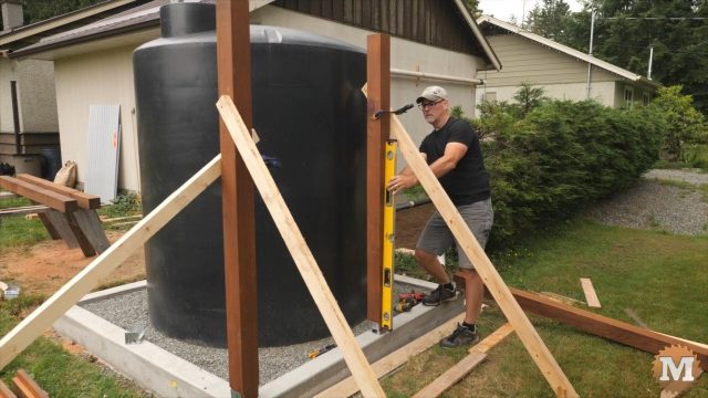 Installation and plumbing a Rainwater Harvesting Collection Tank for drip irrigation during a drought