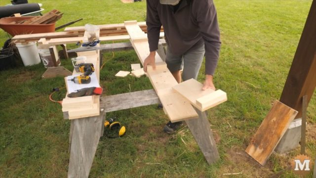 making the concrete forms from 1x8 lumber