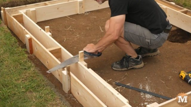 sawing the form spikes down
