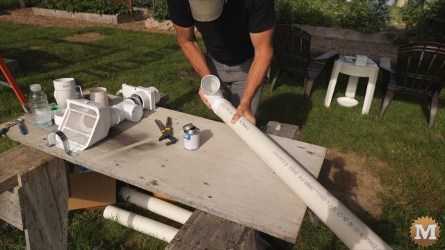 assemble and instal the calming inlet pipe in the rainwater tank