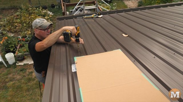 drilling holes in roof for solar panel controller wires