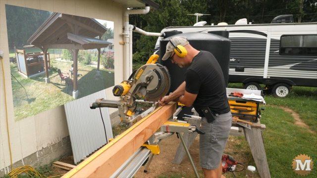 cutting cedar fence posts